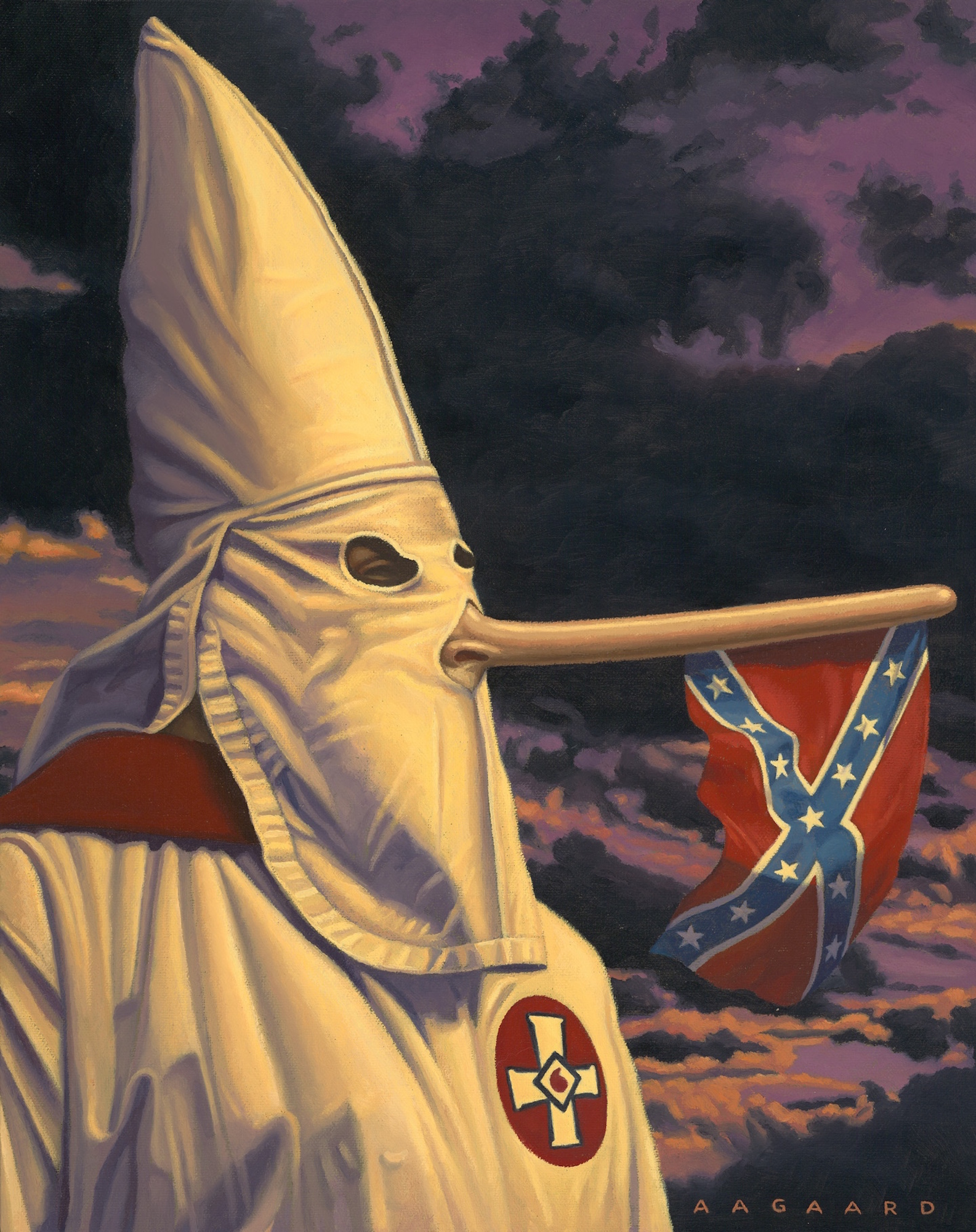 I swore I'd never use the tired Pinocchio cliche for lying, but I succumbed to the flagpole usage opportunity. This painting calls out the Heritage (vs Hate) rationale used by many after the church shootings in Charleston SC.