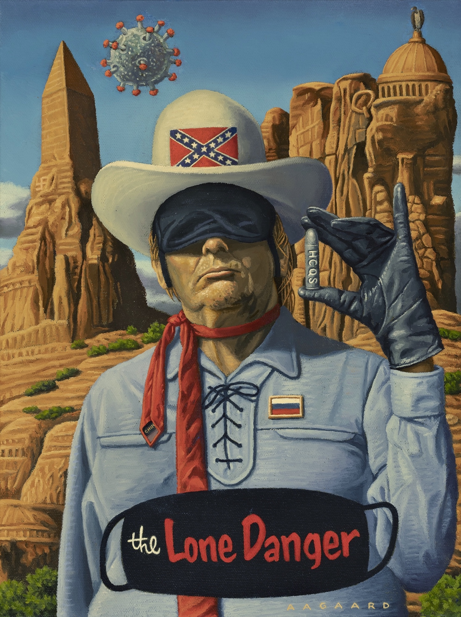 This painting was inspired by Trump's statement that he thought he looked like the Lone Ranger while wearing his protective black mask. Trump's silver bullet is Hydroxychloroquine aka HCQS (stamped on every pill). As usual, he's blind to Covid-19, despite being infected by it.